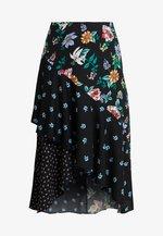 PRINT MIX ASYMMETRIC SKIRT - A-line skirt - black