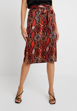 SNAKE PRINT MIDI - A-line skirt - burnt orange