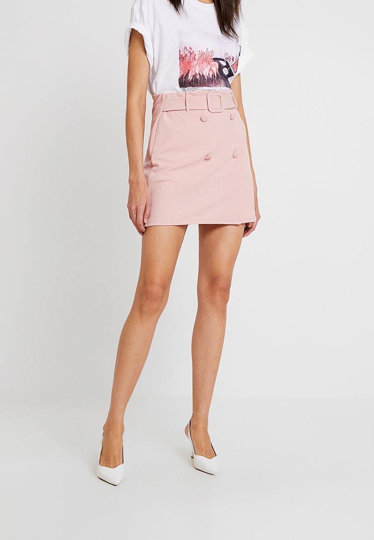 Dorothy Perkins - SELF BELT BUTTON - Falda acampanada - pink