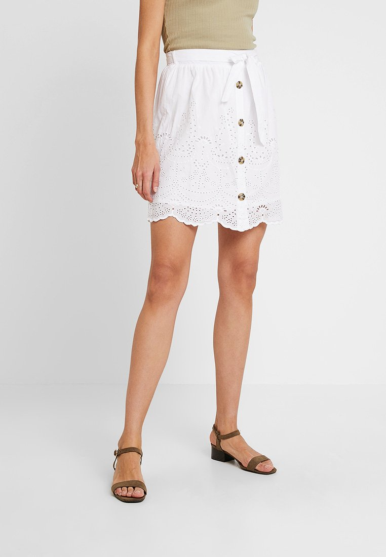Dorothy Perkins - BROIDERY SKIRT - A-Linien-Rock - white