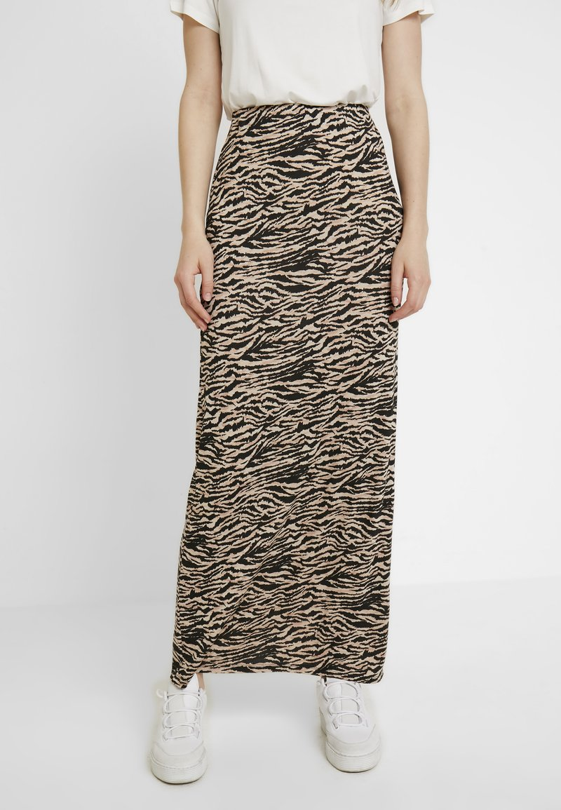 Dorothy Perkins - NEUTRAL ZIGZAG PRINT SKIRT - Maxi skirt - brown