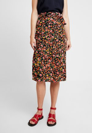 DAISY TIE WAIST MIDI - Pencil skirt - black