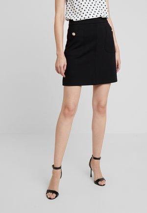 BUTTON POCKET MINI - A-line skirt - black