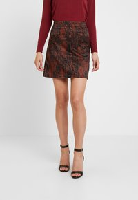 Dorothy Perkins - SNAKE SKIRT - A-linjekjol - black/brown - 0
