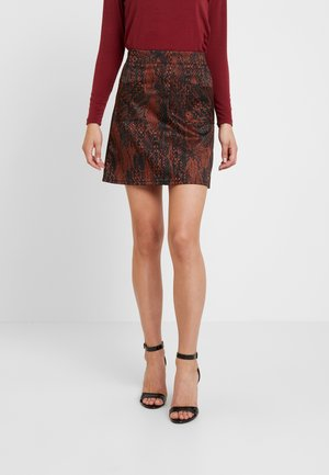 SNAKE SKIRT - A-line skirt - black/brown