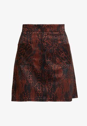 SNAKE SKIRT - Áčková sukně - black/brown