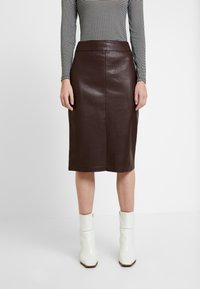 Dorothy Perkins - SPLIT FRONT MIDI SKIRT - Kokerrok - brown - 0
