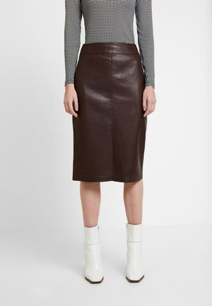 SPLIT FRONT MIDI SKIRT - Kokerrok - brown