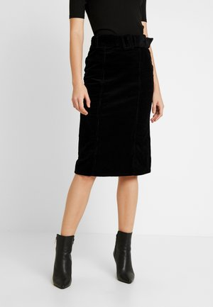 BELTED MIDI - Pencil skirt - black