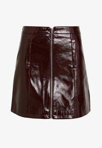 Dorothy Perkins - LOLA SKYE VINYL ZIP FRONT - A-line skirt - oxblood - 3