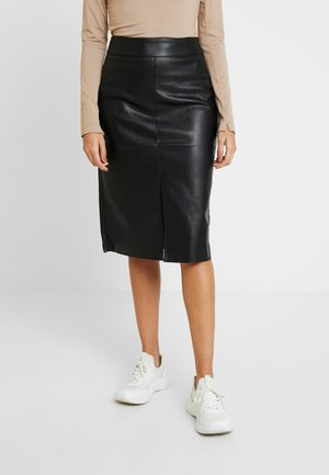 SPLIT FRONT MIDI SKIRT - Pennkjol - black