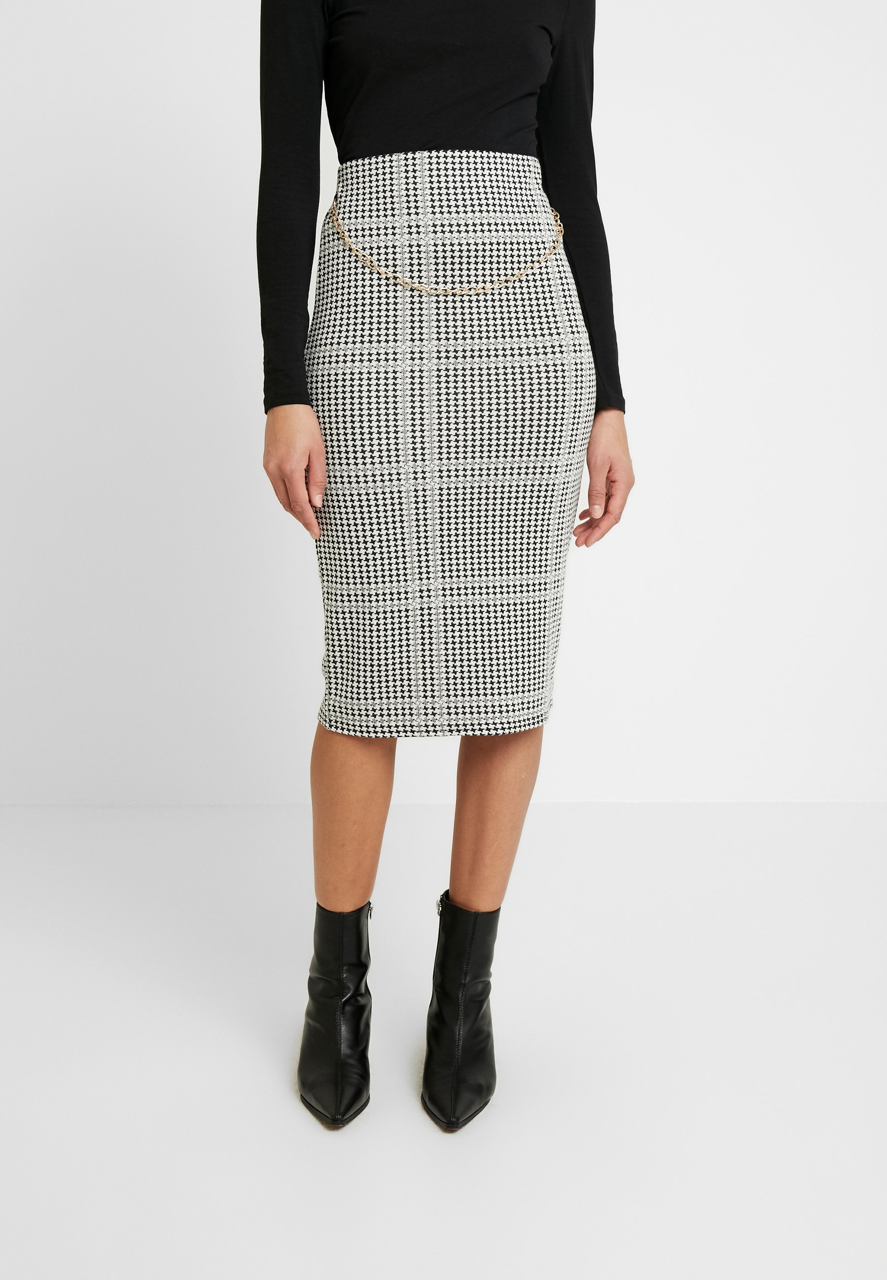 Dorothy Perkins DOGTOOTH CHAIN PULL ON PENCIL SKIRT - Gonna a tubino black