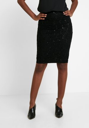 SEQUIN PULL ON PENCIL SKIRT - Pouzdrová sukně - black