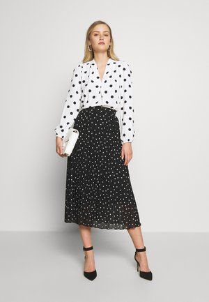 POLKA DOT PLEAT MIDI - A-line skjørt - black