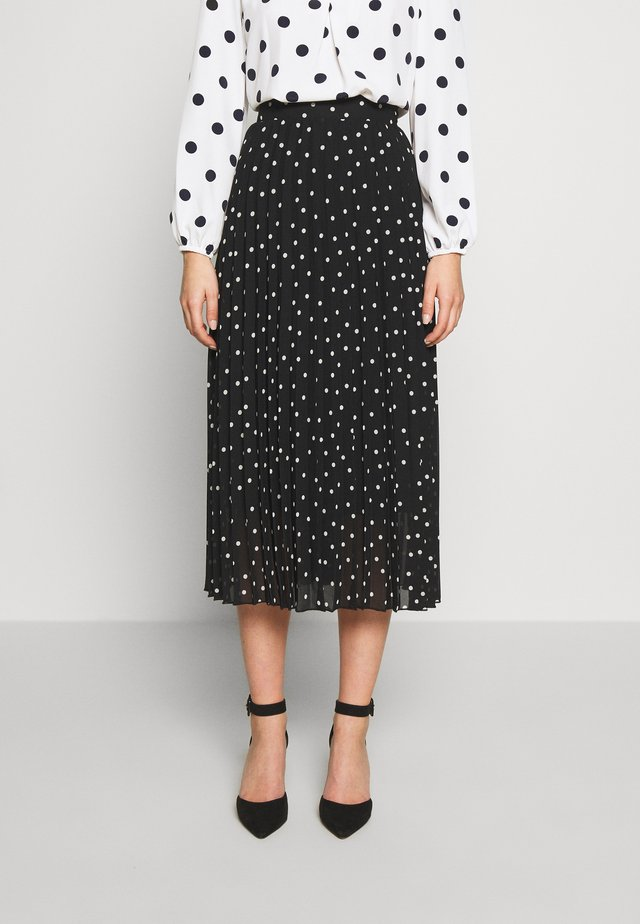 POLKA DOT PLEAT MIDI - A-linjainen hame - black