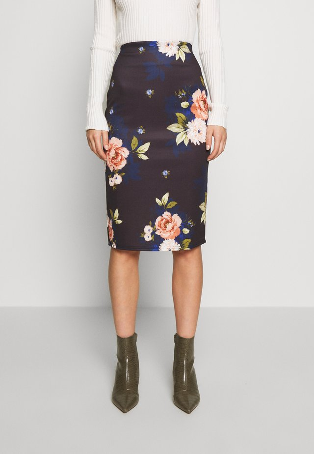 PRINTED SCUBA PENCIL SKIRT - A-linjainen hame - black