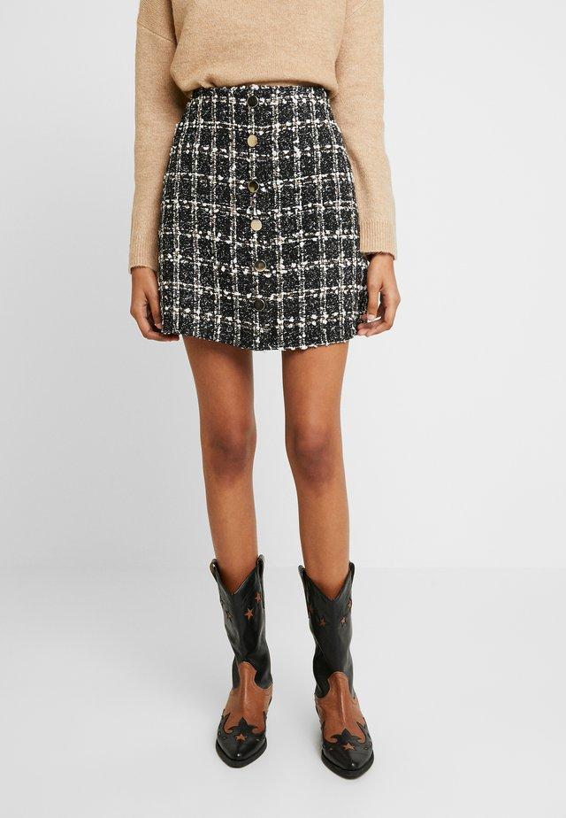 BOUCLE BUTTON THROUGH MINI - A-line skirt - black