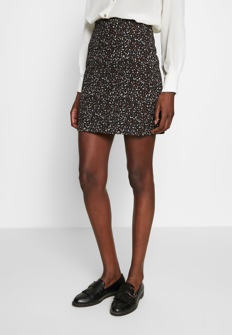 Dorothy Perkins - ANIMAL TEXTURED SKIRT - Mini skirt - black