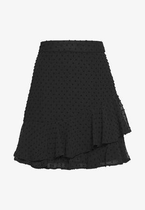 BLACK TEXTURED RUFFLE MINI SKIRT - Minihame - black