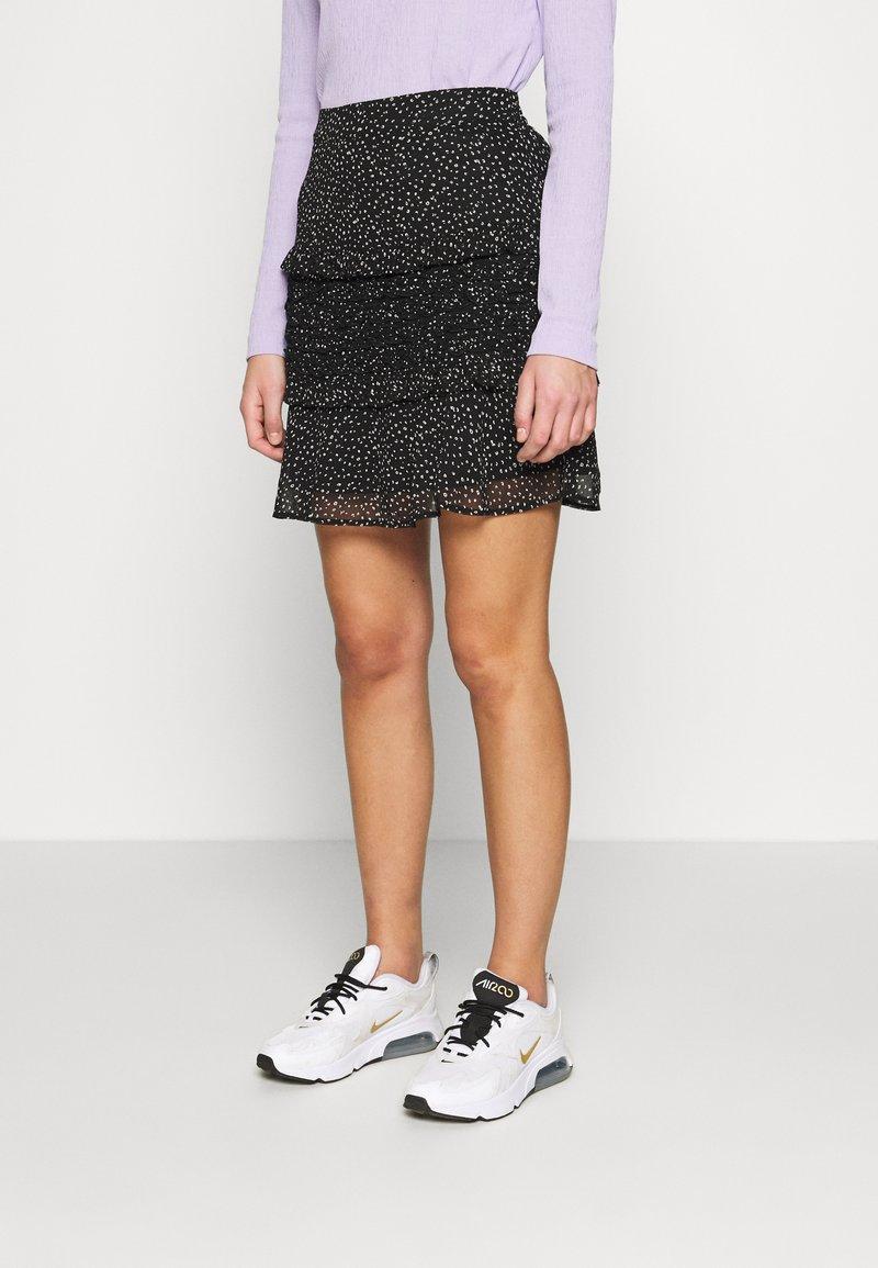 Dorothy Perkins - SQUGGLE PRINT RUFFLE SKIRT - A-line skirt - black