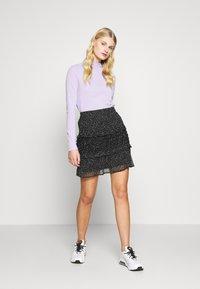 Dorothy Perkins - SQUGGLE PRINT RUFFLE SKIRT - A-line skirt - black - 1