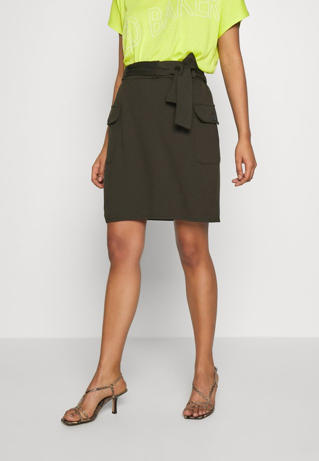 PONTE TIE WAIST MILITARY MINI - A-line skirt - khaki