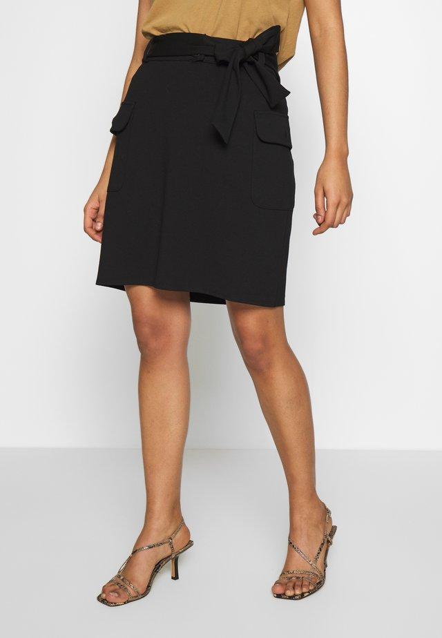 PONTE TIE WAIST MILITARY MINI - A-line skirt - black