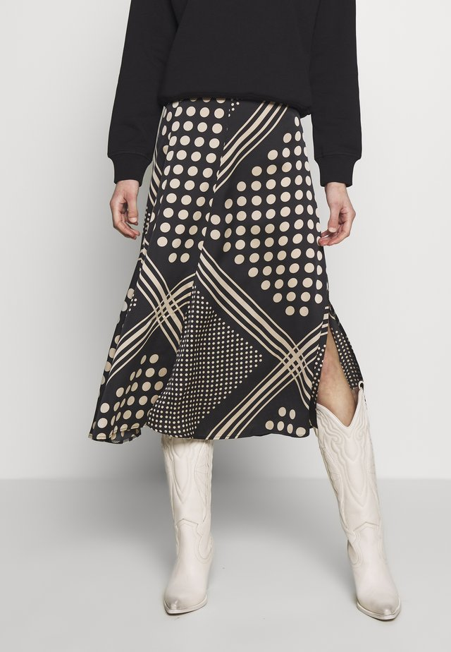 STRIPE SPOT MIX & MATCH MIDI SKIRT - A-linjainen hame - black