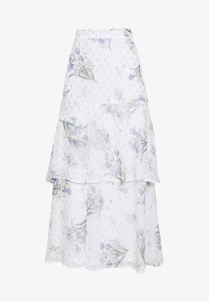 FLORAL PRINT TIERED MAXI SKIRT - Maxirock - ivory