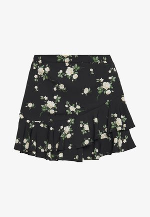 SUSTAINABLE FLORAL RUFFLE SKIRT - Falda acampanada - black