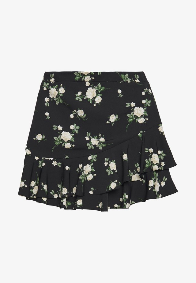 SUSTAINABLE FLORAL RUFFLE SKIRT - A-linjainen hame - black