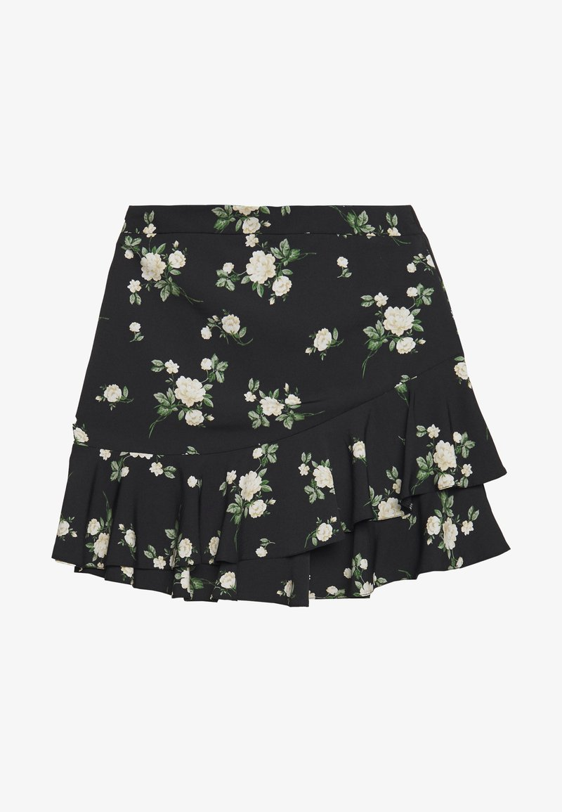 Dorothy Perkins - SUSTAINABLE FLORAL RUFFLE SKIRT - A-line skirt - black