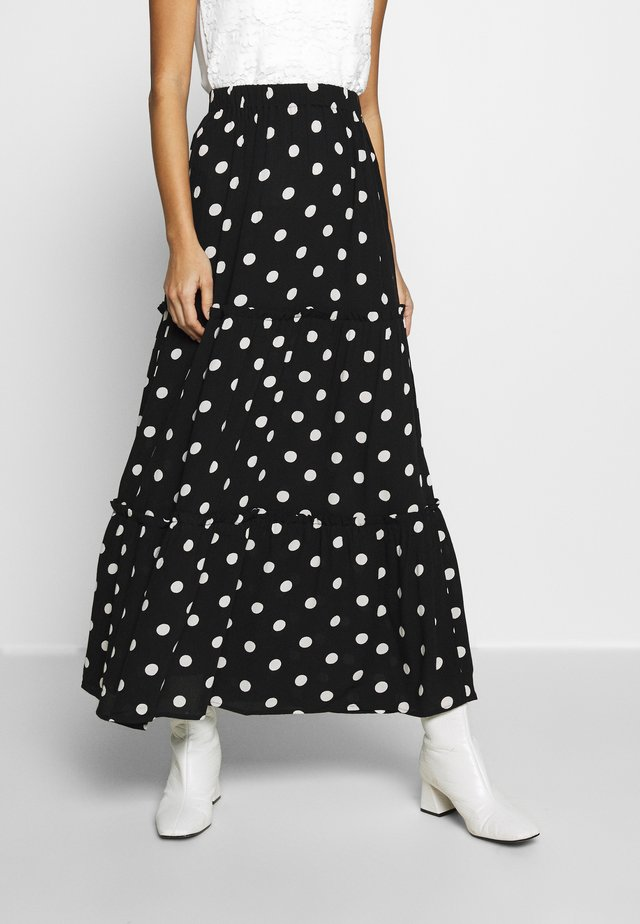 POLKA DOT TIERED SKIRT - A-linjainen hame - black