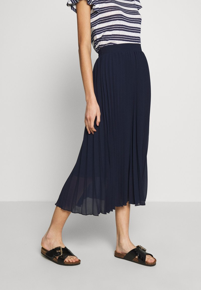 Dorothy Perkins - PLEAT MIDI SKIRT - A-Linien-Rock - navy