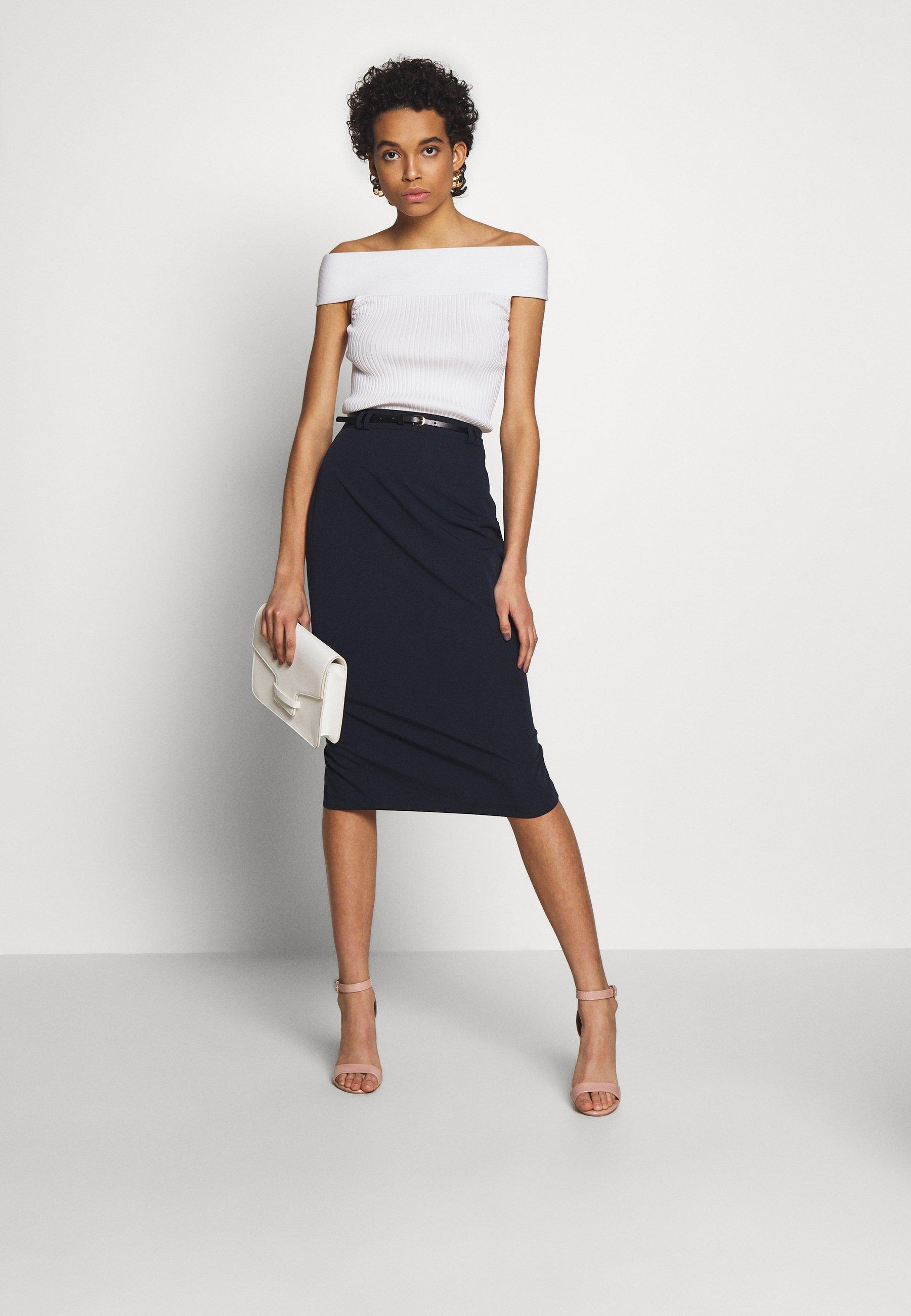 Dorothy Perkins Naples Midi Skirt - Kokerrok Navy