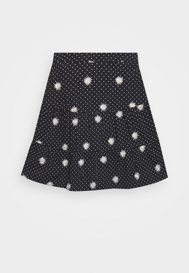 DAISY SPOT TIERED MINI SKIRT - A-linjainen hame - black