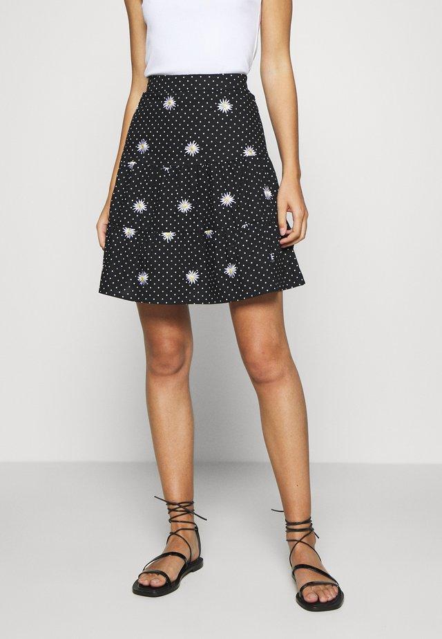 DAISY SPOT TIERED MINI SKIRT - A-line skirt - black