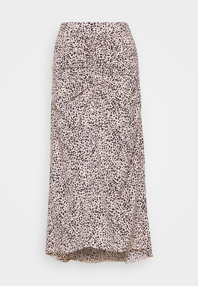 LEOPARD RUCHED MIDI SKIRT - A-line skirt - black