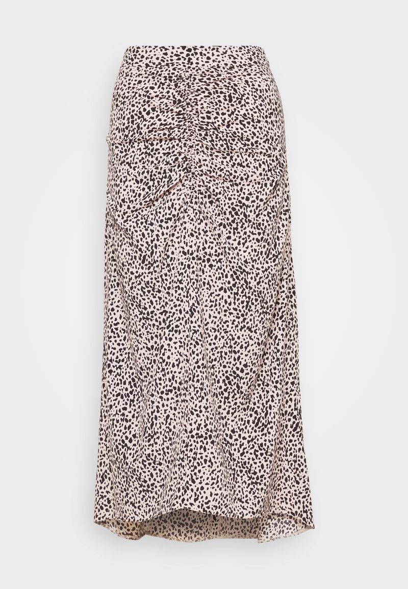 Dorothy Perkins - LEOPARD RUCHED MIDI SKIRT - A-line skirt - black