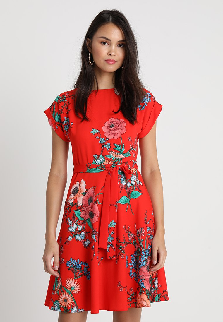 Dorothy Perkins - FLORAL V NECK FIT AND FLARE - Day dress - red