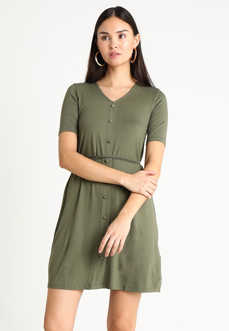 Dorothy Perkins - BUTTON FIT AND FLARE - Jerseykleid - khaki