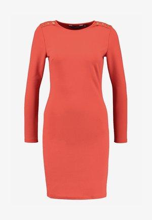 TRIM SHOULDER LONG SLEEVE BODYCON - Vestido ligero - rust orange