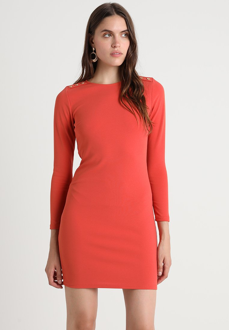 Dorothy Perkins - TRIM SHOULDER LONG SLEEVE BODYCON - Jerseykleid - rust orange
