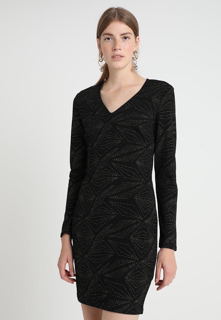 Dorothy Perkins - GEO LONG SLEEVE MINI - Shift dress - black/gold