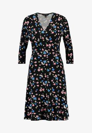 FLORAL WRAP DRESS - Day dress - black