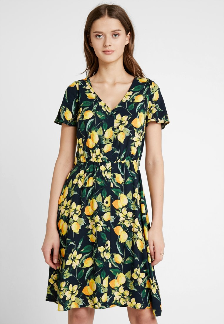 Dorothy Perkins - BUTTON THROUGH FIT AND FLARE - Skjortekjole - yellow