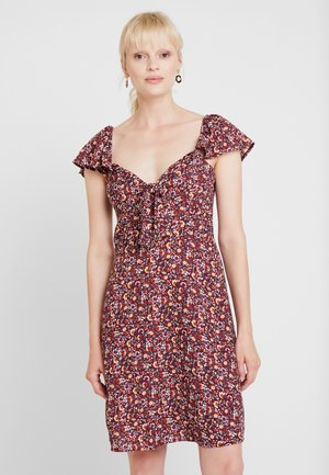TIE FRONT DRESS - Vestido informal - burgundy
