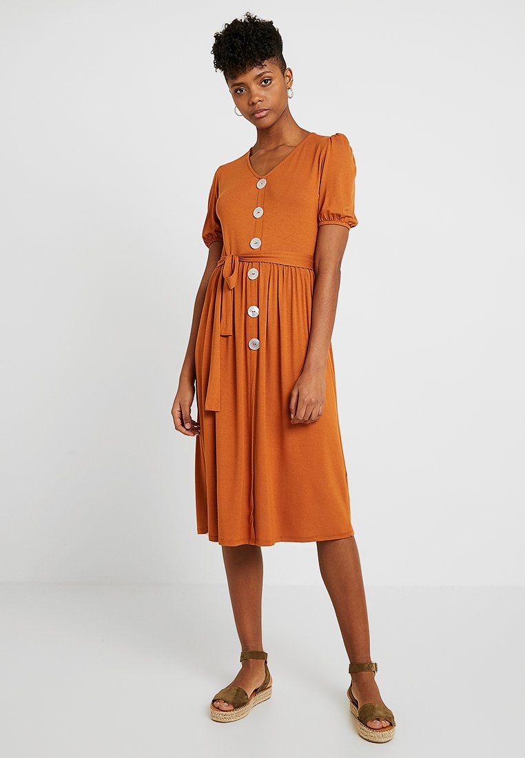 Dorothy Perkins - MOTHER OF PEARL BUTTON MIDI - Jersey dress - rust