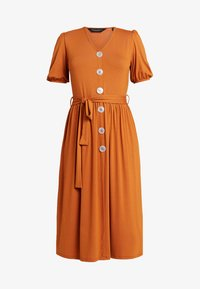Dorothy Perkins - MOTHER OF PEARL BUTTON MIDI - Jersey dress - rust - 4