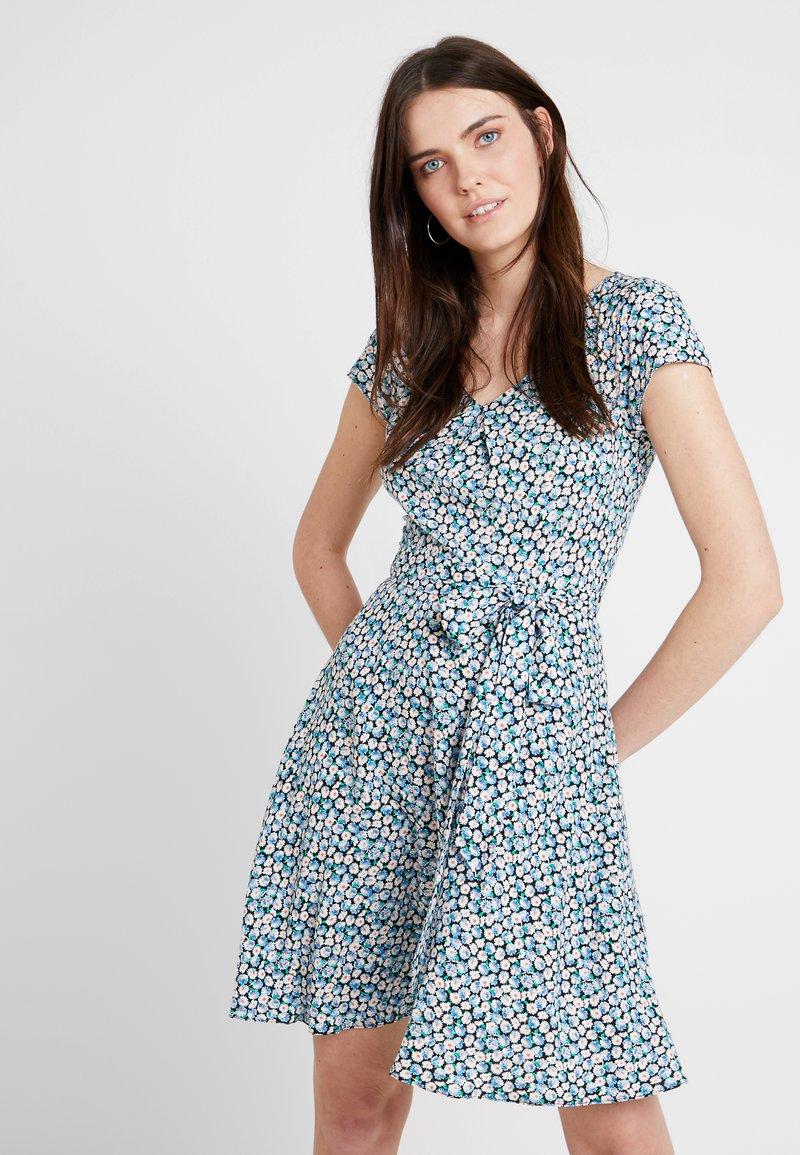 Dorothy Perkins - SHORT SLEEVE DIASY PRINT V NECK SOFT BELTED DRESS - Freizeitkleid - blue/white